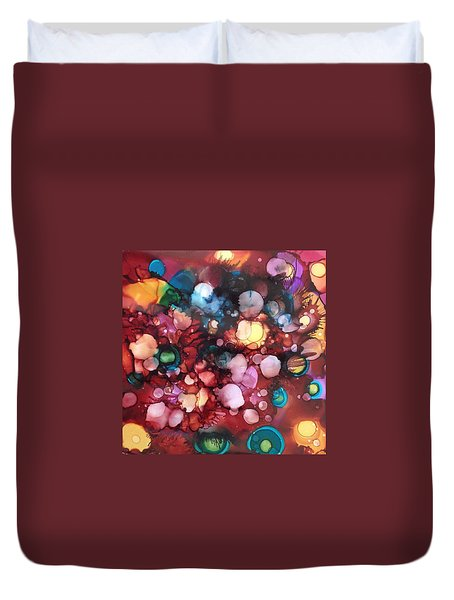 Abstract Floral Duvet Cover by Suzanne Canner