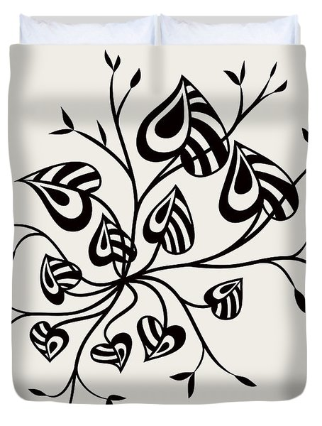 Abstract Floral With Pointy Leaves In Black And White Duvet Cover