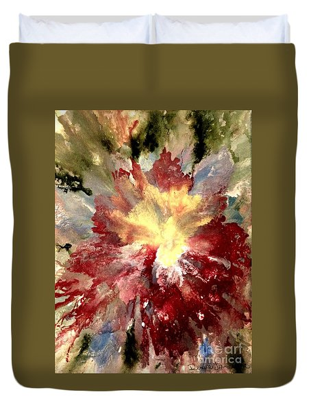 Duvet Cover featuring the painting Abstract Flower by Denise Tomasura