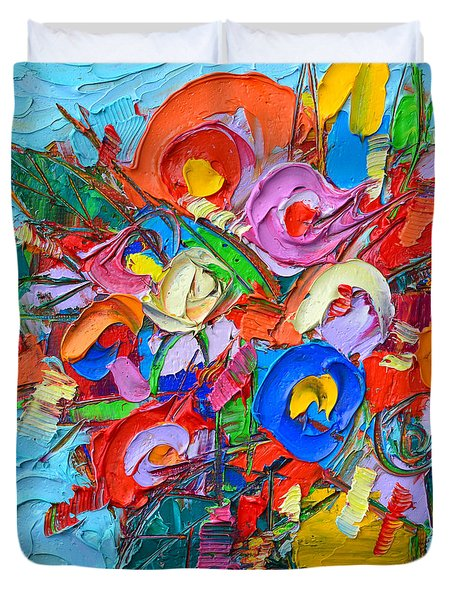 Abstract Flowers Floral Miniature Modern Impressionist Palette Knife Oil Painting Ana Maria Edulescu Duvet Cover