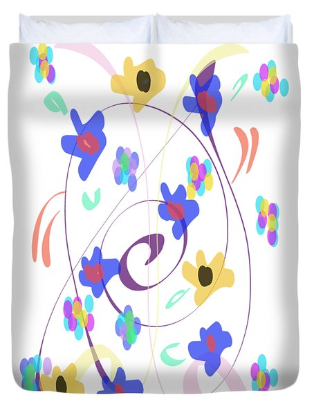 Abstract Garden Nr 7 Naif Style Duvet Cover