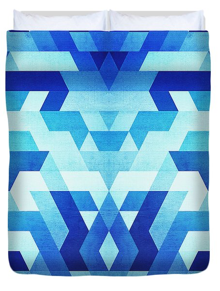 Abstract Geometric Triangle Pattern Futuristic Future Symmetry In Ice Blue Duvet Cover
