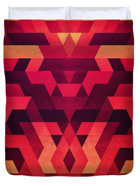 Abstract  Geometric Triangle Texture Pattern Design In Diabolic Future Red Duvet Cover