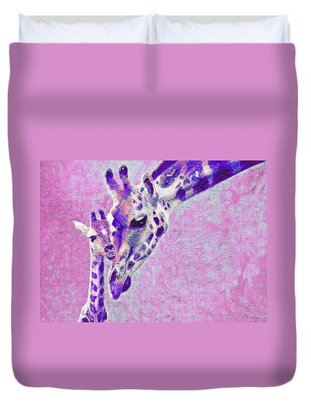 Duvet Cover featuring the digital art Abstract Giraffes2 by Jane Schnetlage
