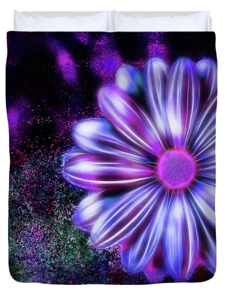 Abstract Glowing Purple And Blue Flower Duvet Cover