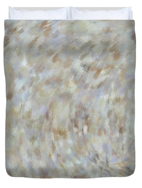 Duvet Cover featuring the mixed media Abstract Gold Cream Beige 6 by Clare Bambers