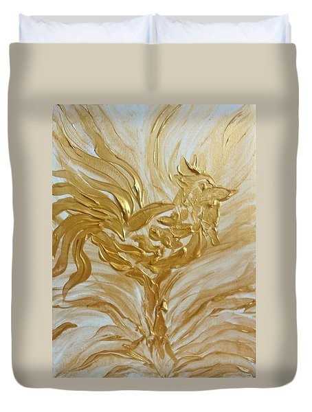 Abstract Golden Rooster Duvet Cover