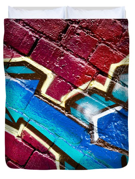 Duvet Cover featuring the painting Abstract Graffiti Arrow by Yurix Sardinelly