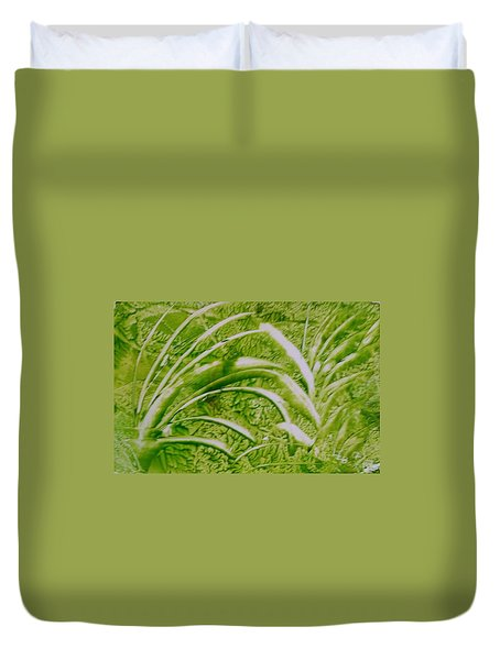 Abstract Green And White Leaves And Grass Duvet Cover