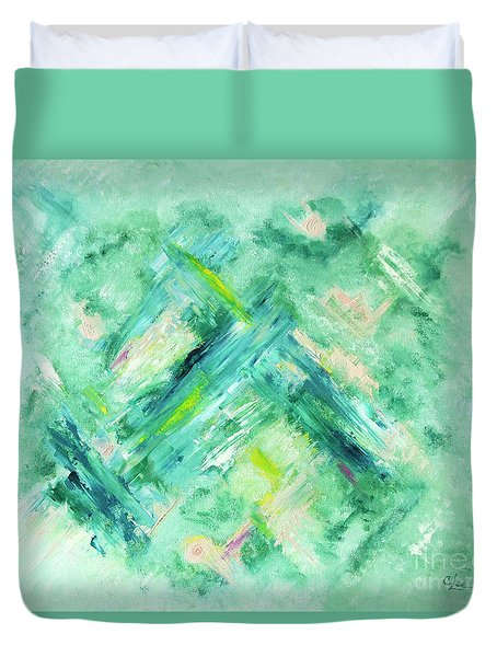 Abstract Green Blue Duvet Cover by Cindy Lee Longhini