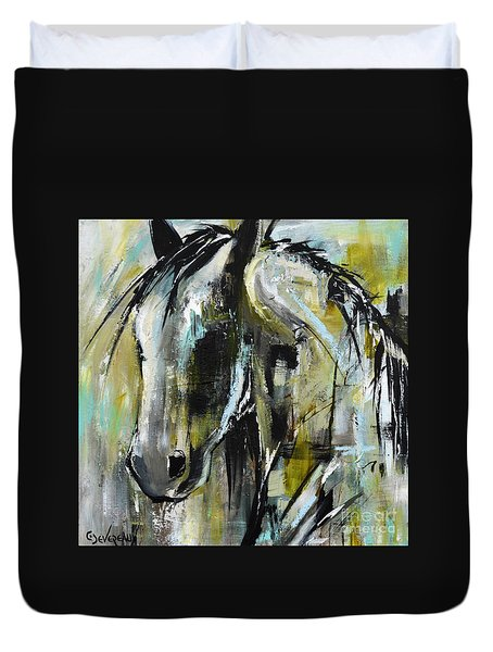 Duvet Cover featuring the painting Abstract Green Horse by Cher Devereaux