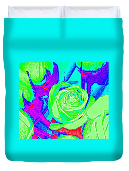 Abstract Green Roses Duvet Cover