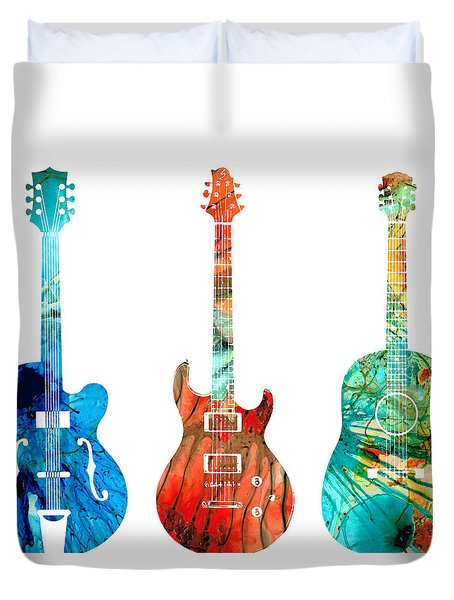 Abstract Guitars By Sharon Cummings Duvet Cover
