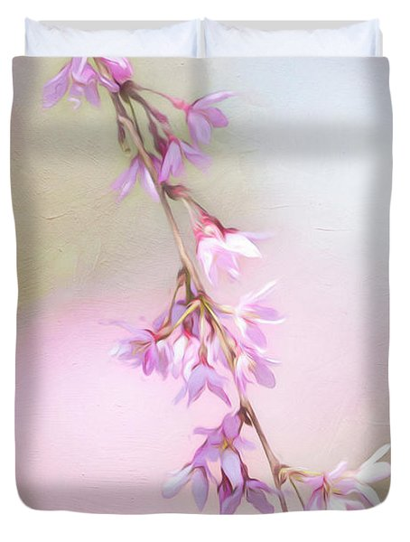Abstract Higan Chery Blossom Branch Duvet Cover
