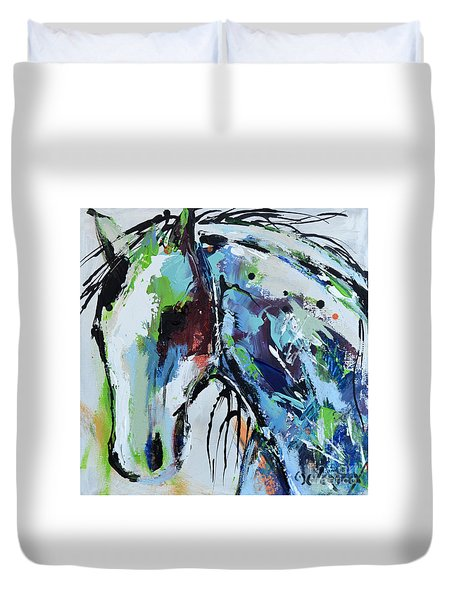 Duvet Cover featuring the painting Abstract Horse 18 by Cher Devereaux