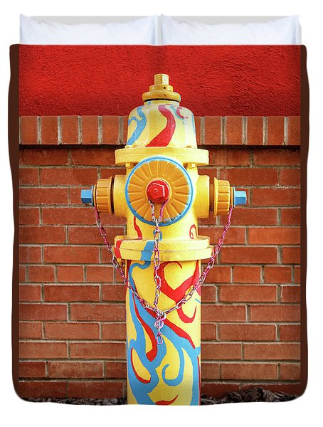 Abstract Hydrant Duvet Cover by James Eddy