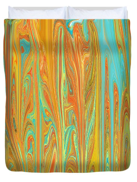 Abstract In Copper, Orange, Blue, And Gold Duvet Cover by Jessica Wright