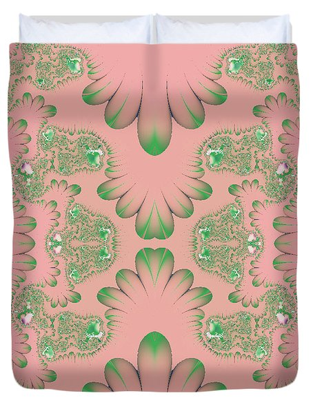 Duvet Cover featuring the digital art Abstract In Pink And Green by Linda Phelps
