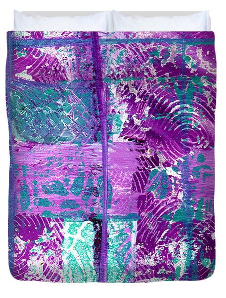 Abstract In Purple And Teal Duvet Cover