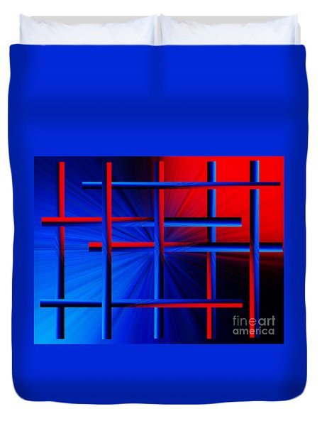 Abstract In Red/blue 3 Duvet Cover