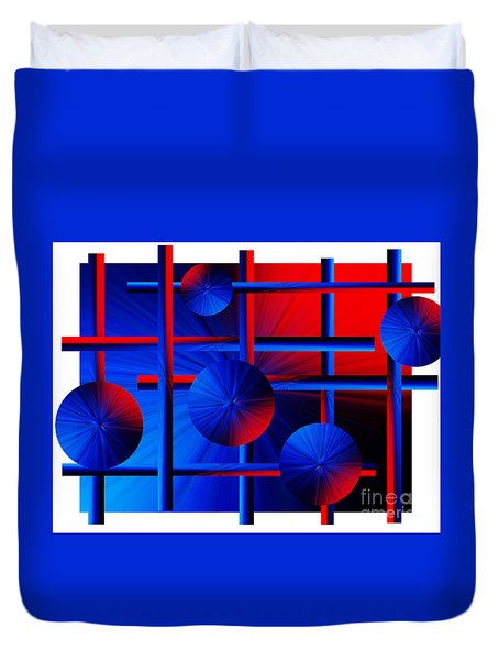 Abstract In Red/blue Duvet Cover