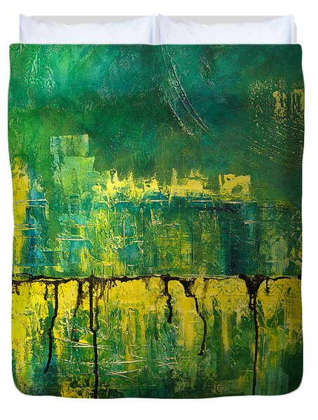 Duvet Cover featuring the painting Abstract In Yellow And Green by Jocelyn Friis