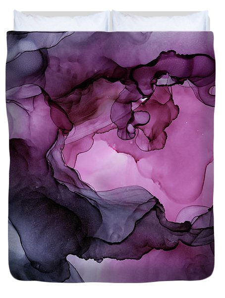 Abstract Ink Painting Plum Pink Ethereal Duvet Cover