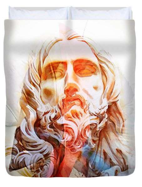 Duvet Cover featuring the painting Abstract Jesus 2 by J- J- Espinoza