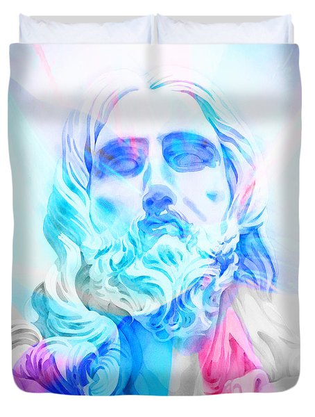 Duvet Cover featuring the painting Abstract Jesus 3 by J- J- Espinoza