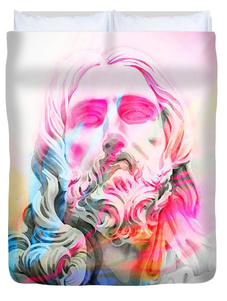 Duvet Cover featuring the painting Abstract Jesus 4 by J- J- Espinoza