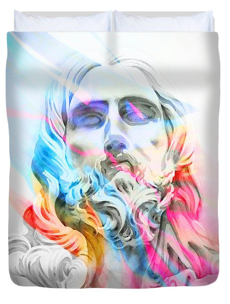 Duvet Cover featuring the painting Abstract Jesus 5 by J- J- Espinoza