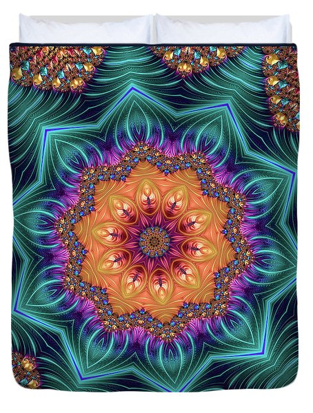 Duvet Cover featuring the digital art Abstract Kaleidoscope Art With Wonderful Colors by Matthias Hauser