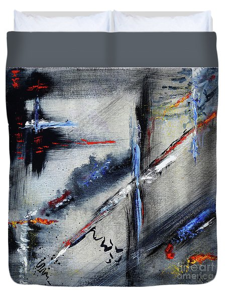 Duvet Cover featuring the painting Abstract by Karen Fleschler