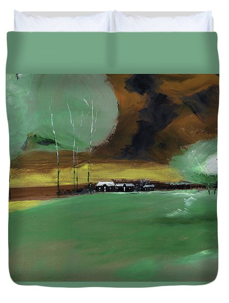 Duvet Cover featuring the painting Abstract Landscape by Anil Nene