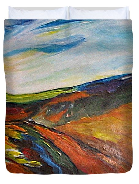 Duvet Cover featuring the painting abstract landscape-Haloze by Dragica  Micki Fortuna