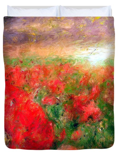 Abstract Landscape Of Red Poppies Duvet Cover