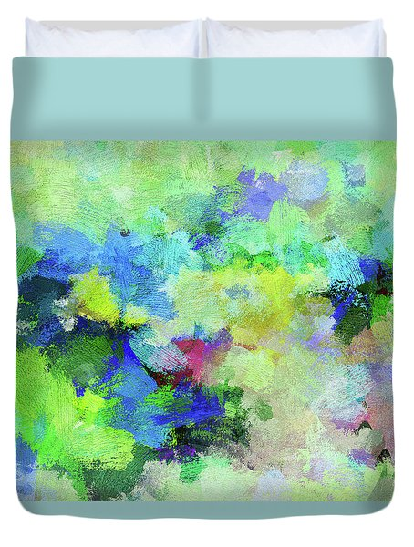 Duvet Cover featuring the painting Abstract Landscape Painting by Ayse Deniz