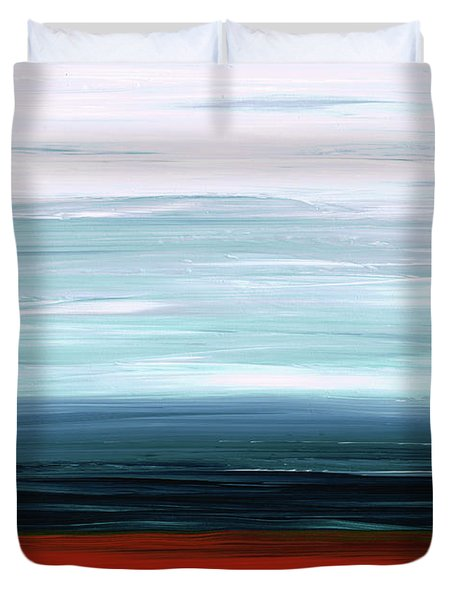 Duvet Cover featuring the painting Abstract Landscape - Ruby Lake - Sharon Cummings by Sharon Cummings