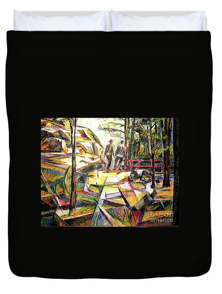 Duvet Cover featuring the drawing Abstract Landscape With People by Stan Esson