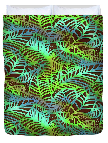 Abstract Leaves Chocolate  Shadows Duvet Cover