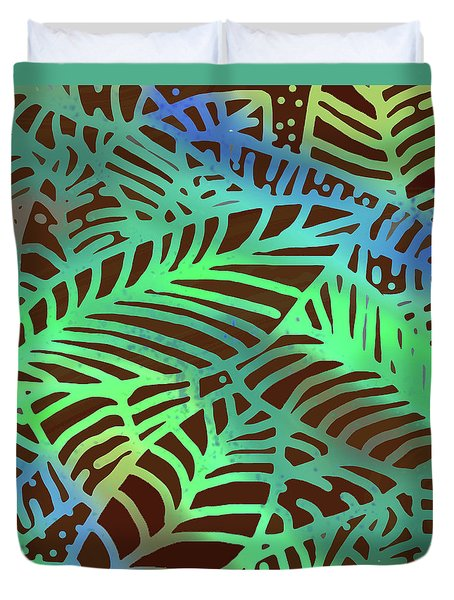Abstract Leaves Cocoa Green Duvet Cover