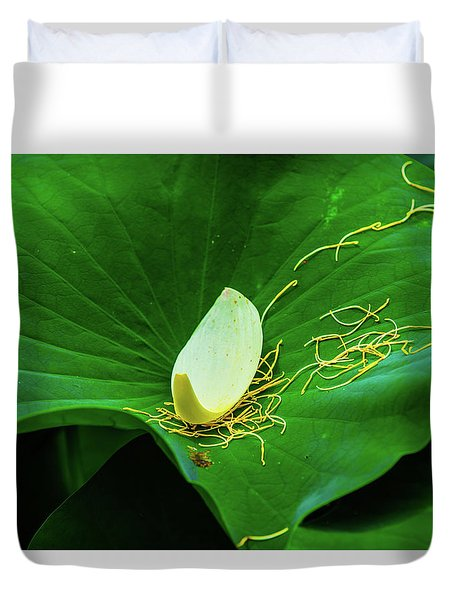 Abstract Leaves Of Green And Yellow Duvet Cover