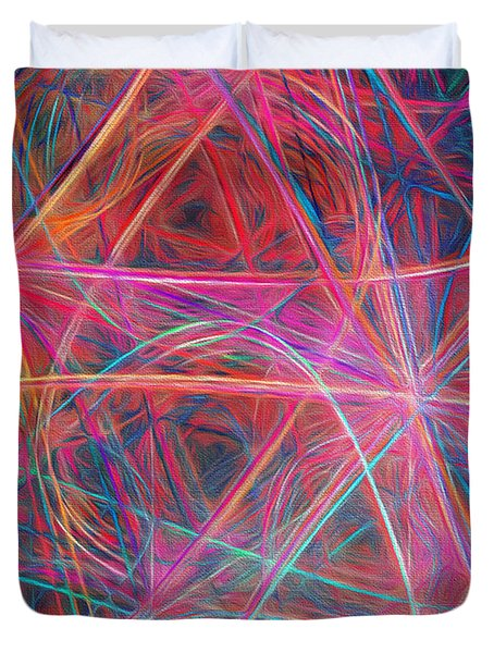 Duvet Cover featuring the digital art Abstract Light Show by Andee Design