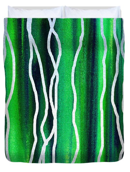 Abstract Lines On Green Duvet Cover