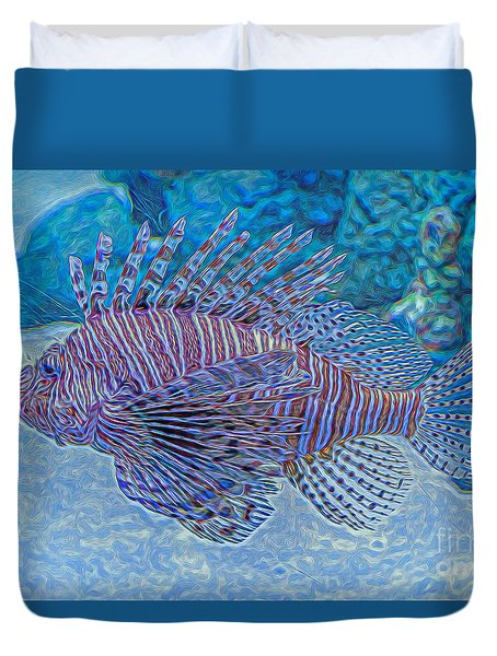 Abstract Lionfish Duvet Cover