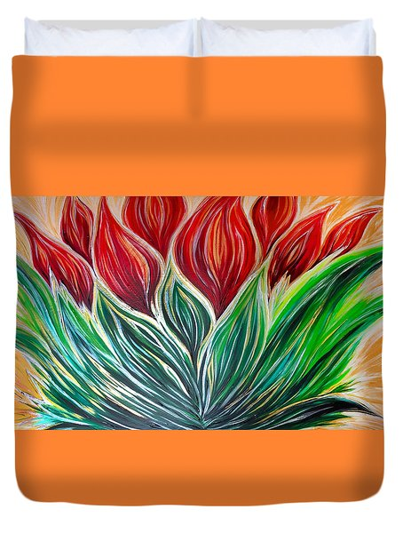 Abstract Lotus Duvet Cover