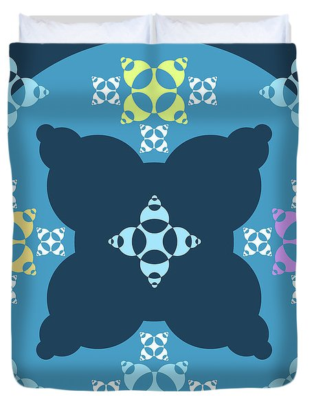 Abstract Mandala Blue, Dark Blue And Cyan Pattern For Home Decoration Duvet Cover