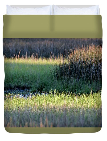 Duvet Cover featuring the photograph Abstract Marsh Grasses by Bruce Gourley