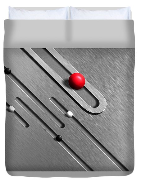 Abstract Metal Grooves And Spheres Duvet Cover