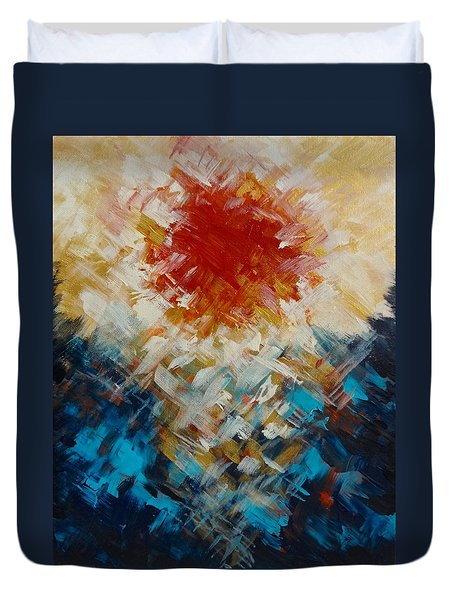 Abstract Blood Moon Duvet Cover